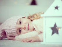 Portrait of cute girl at christmas time Stock Photography