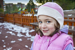 Portrait of cute girl in the cold winter away Royalty Free Stock Photo