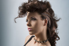 Portrait of cute girl with creative hair-style Royalty Free Stock Photo