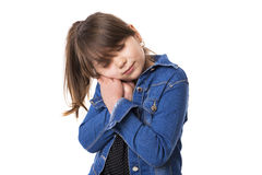 Portrait of a cute girl falling asleep Stock Photography