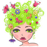 30-10. Portrait of Cute Girl with green curly hair with flowers and butterflies Stock Photo