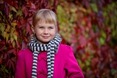 Cute girl in the autumn park Stock Photography