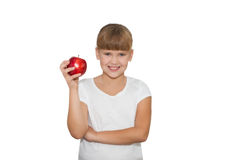Portrait of cute girl holding an apple isolated Stock Image