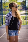 Portrait of a cute girl on the sports ground Royalty Free Stock Photos