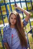 Portrait of a cute girl on the sports ground Stock Photography