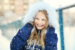Girl in the winter. teen outdoors. Portrait of a cute girl on a walk in the winter. teen outdoors Stock Images