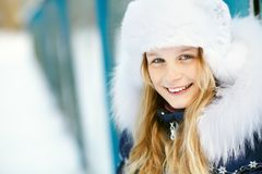 Girl in the winter. teen outdoors. Portrait of a cute girl on a walk in the winter. teen outdoors Royalty Free Stock Photos
