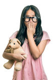 Portrait of cute girl  Wearing Eyeglasses, Showing Oops Expressi Stock Images