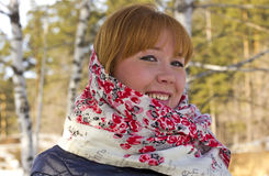 Portrait of a cute girl wearing a scarf on your head Royalty Free Stock Image
