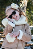 Portrait of cute girl in winter sun Royalty Free Stock Photos