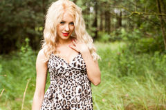 Portrait of a cute girl in the woods Royalty Free Stock Image