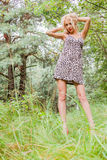 Portrait of a cute girl in the woods Stock Photography