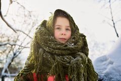 Portrait of a cute girl wrapped in a scarf. stock image