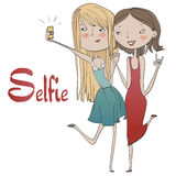 Portrait of cute girls making selfie. Portrait of beautiful girls making selfie stock illustration