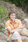 Portrait of a cute guy on the nature Royalty Free Stock Images