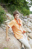 Portrait of a cute guy on the nature Royalty Free Stock Photo