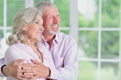 Portrait of cute happy senior couple at home royalty free stock images