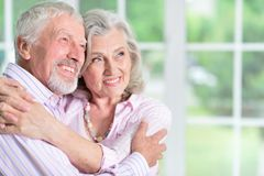 Portrait of cute happy senior couple at home stock image