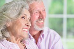 Portrait of cute happy senior couple at home royalty free stock photography