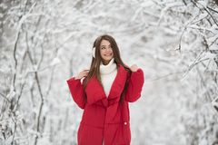 Portrait of cute happy woman outdoor. stock photography