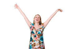Portrait of cute happy young lady spreading her arms Royalty Free Stock Images