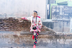 Portrait of Cute Indian Girl wearing Jacket Stock Photos
