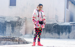 Portrait of Cute Indian Girl wearing Jacket Stock Photography