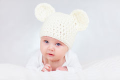 Portrait of cute infant baby on white, two months  Stock Image