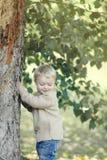 Portrait cute kid in autumn stock photos