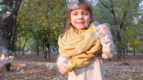 Portrait of a cute kid blowing soap bubbles and smiling in autumn park. Slow motion stock footage