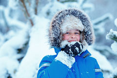 Portrait of cute kid boy trying to eat snow outdoors. Child having fun in a winter park Stock Images