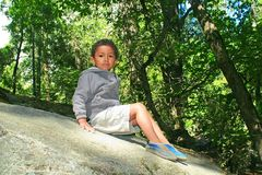 Portrait of a cute kid outdoors Stock Photo