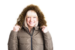 Portrait of cute lady holding winter furry hood Stock Photo