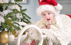 Portrait of a cute litle boy celebrating Christmas Royalty Free Stock Photography