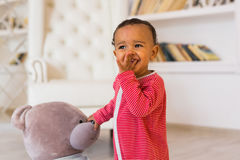 Portrait of a cute little African American boy smiling royalty free stock photos