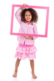 Little african american girl holding a picture frame Stock Images