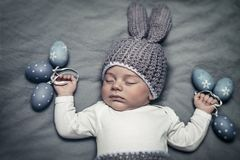Cute baby boy at Easter day stock photography
