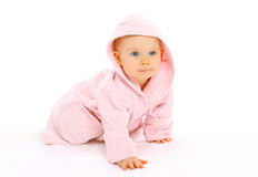 Portrait of cute little baby crawls Royalty Free Stock Images