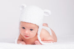 cute little baby in a funny hat Royalty Free Stock Image