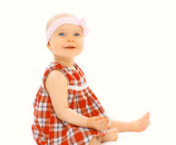 Portrait of cute little baby girl in the dress Stock Image