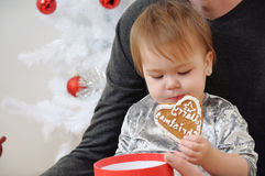 Portrait of cute little baby girl eating cookies near Christmas Royalty Free Stock Photo