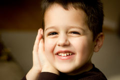 Portrait of a cute little boy. Close-up portrait of a cute little boy with brown hair and brown eyes smiling with his hands pressed to the side of his face royalty free stock photography