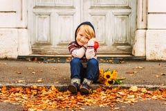 Portrait of a cute little boy Stock Photos