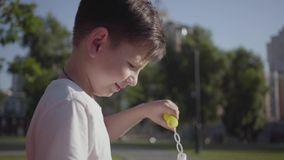 Portrait of cute small boy blowing soap bubbles. Cute child spending time alone outdoors. Summertime leisure. Adorable. Portrait of cute little boy blowing soap stock footage
