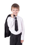 Portrait of cute little boy in business suit  on white Stock Photos
