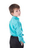 Portrait of cute little boy in business suit  on white Stock Images