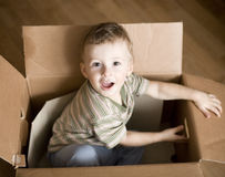 Portrait of cute little boy in carton box Stock Images