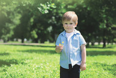 Portrait of cute little boy child with flower outdoors Royalty Free Stock Images