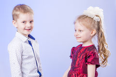 Portrait of cute little boy and girl Royalty Free Stock Images