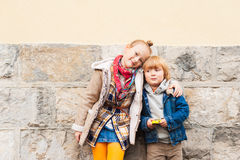 Portrait of a cute little boy and girl Stock Photos